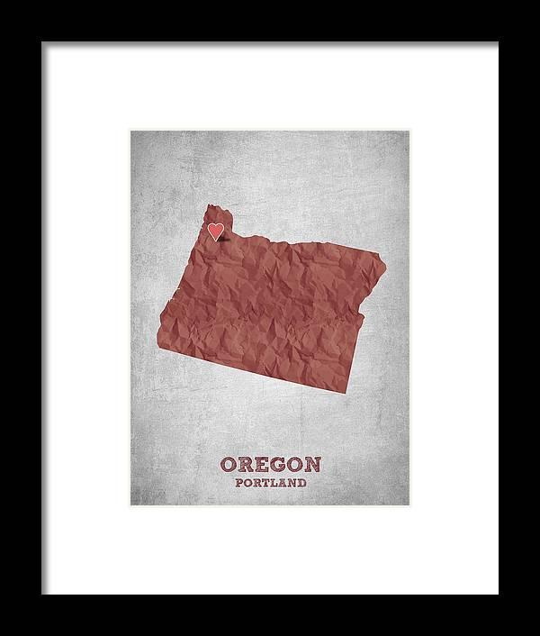 Portland Framed Print featuring the digital art I Love Portland Oregon- Red by Aged Pixel