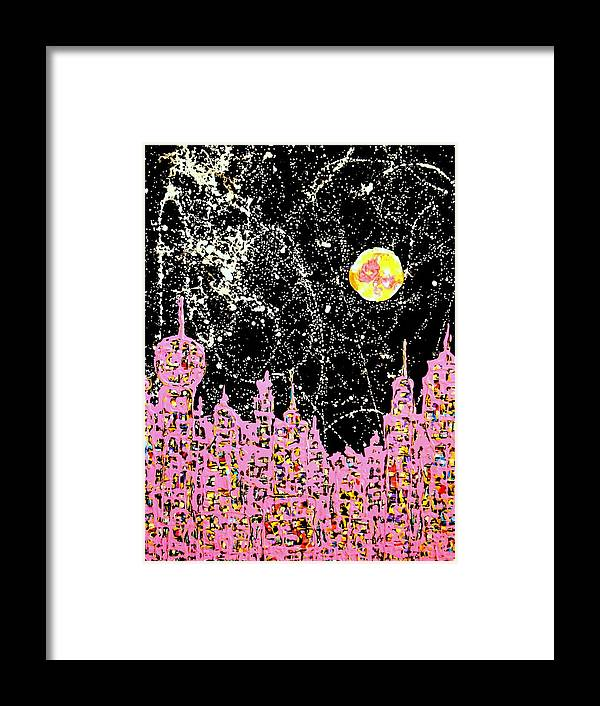 Abstraction Framed Print featuring the painting I Love This City At Night by Yuriy Vekshinskiy