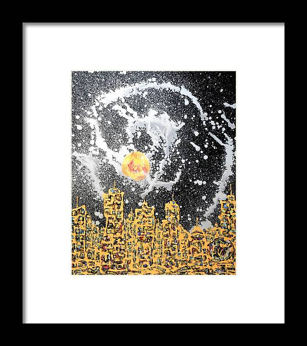 Abstraction Framed Print featuring the painting I Love This City By Day by Yuriy Vekshinskiy
