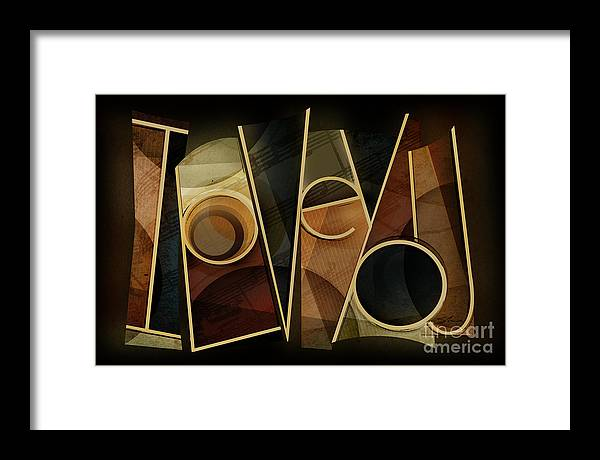 I Love You Framed Print featuring the mixed media I Love You - Abstract by Shevon Johnson