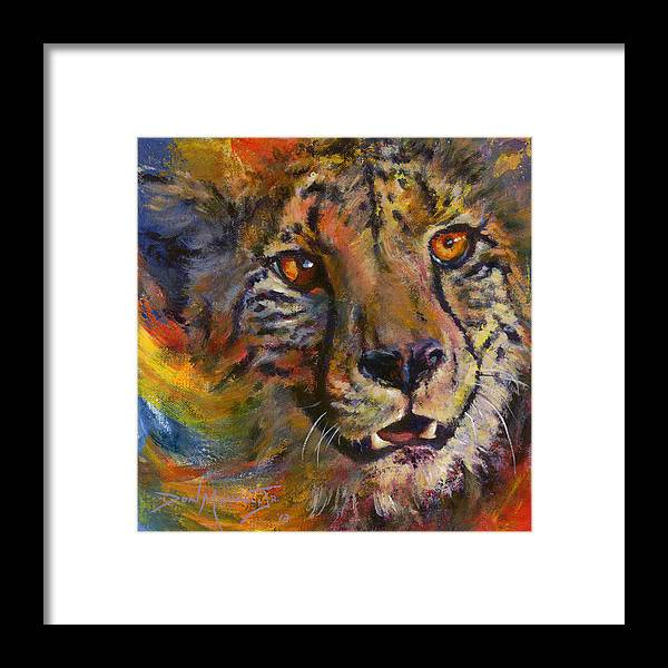 Cheetah Framed Print featuring the painting I Spy by Don Michael Jr