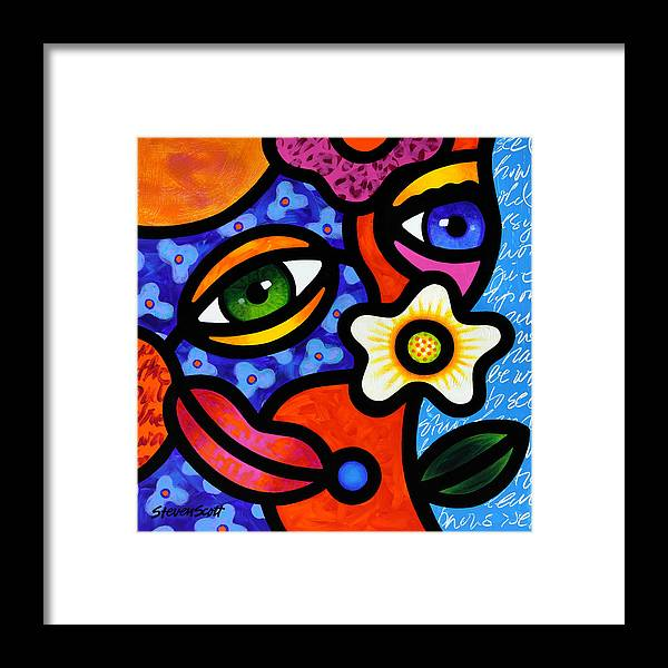 Abstract Framed Print featuring the painting I Think I Like You by Steven Scott