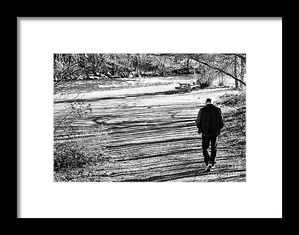 Person Framed Print featuring the photograph I Walk Alone by Lori Tambakis