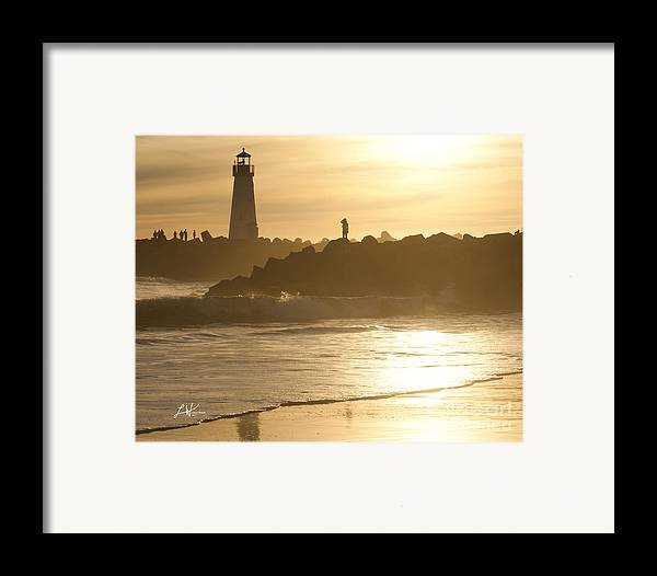 The Santa Cruz Harbor Lighthouse Framed Print featuring the photograph I Will Wait For You Forever by Artist and Photographer Laura Wrede