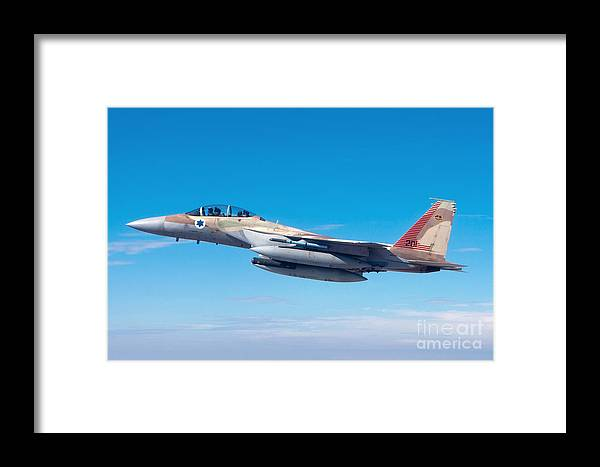 Israel Framed Print featuring the photograph Iaf Fighter Jet F-15i In Flight by Nir Ben-Yosef