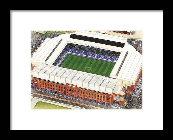 Glasgow Framed Print featuring the painting Ibrox Stadium by Kevin Fletcher