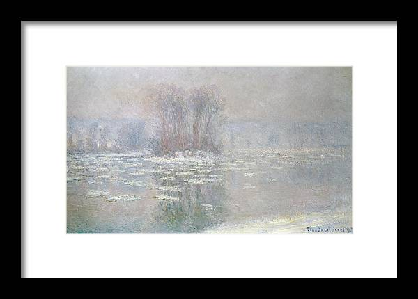 Ice Framed Print featuring the painting Ice At Bennecourt by Claude Monet