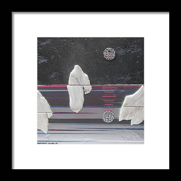 Assemblage Framed Print featuring the mixed media Ice Bergs by Elaine Booth-Kallweit