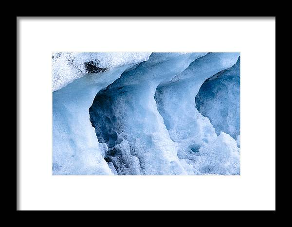 Iceland Framed Print featuring the photograph Ice Pattern In Blue by Andy-Kim Moeller