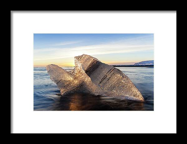 Scenics Framed Print featuring the photograph Iceberg In Sea By Jokulsarlon Glacier by Peter Adams
