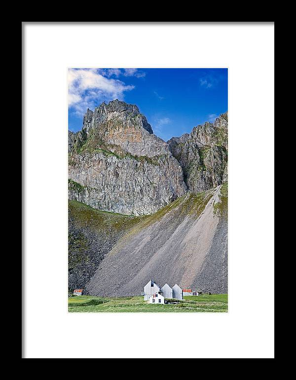 Iceland Houses Framed Print featuring the photograph Iceland Houses Under The Mountain by Dirk Ercken
