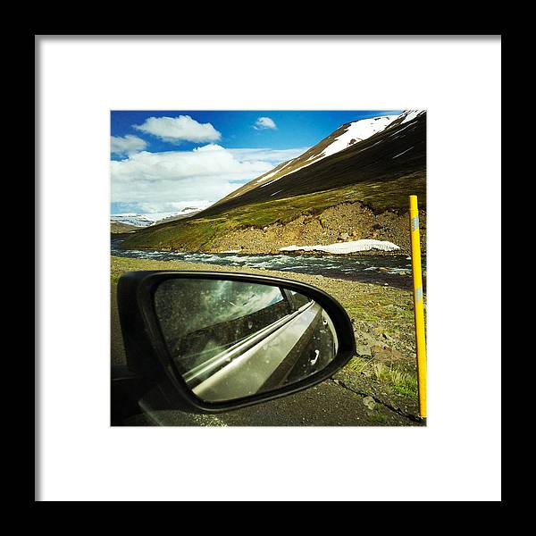 Iceland Framed Print featuring the photograph Iceland roadtrip - landscape and rear mirror of car by Matthias Hauser