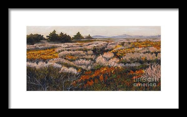 Landscape Framed Print featuring the painting Iceplant And Chaparral by Betsee Talavera