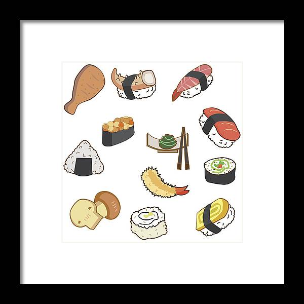 Icon Of Japan Food And Sushi In Cartoon Style On Blue Background For Background Or Wallpaper Framed Print
