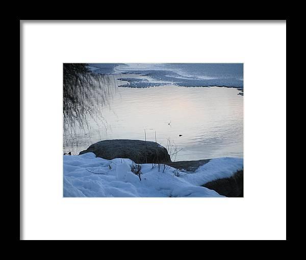 Snow Framed Print featuring the photograph Icy Beach by Deborah Flusberg