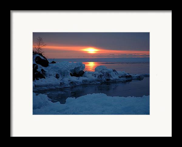 Ice Framed Print featuring the photograph Icy Lake Superior Sunrise by Sandra Updyke