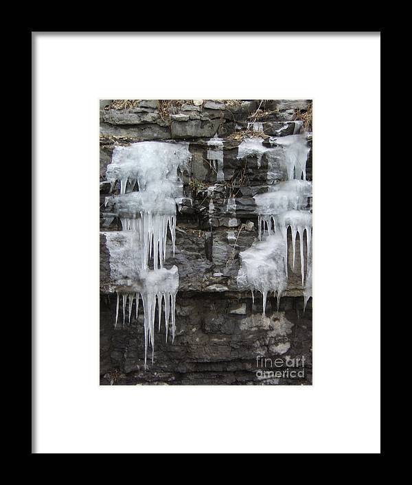 Ice Framed Print featuring the photograph Icy Ledges by Margaret McDermott