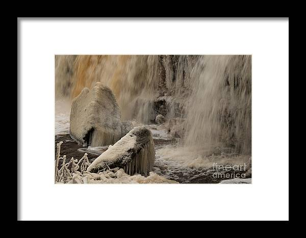 Water Framed Print featuring the photograph Icy Waterfall by Marleen Valdmann