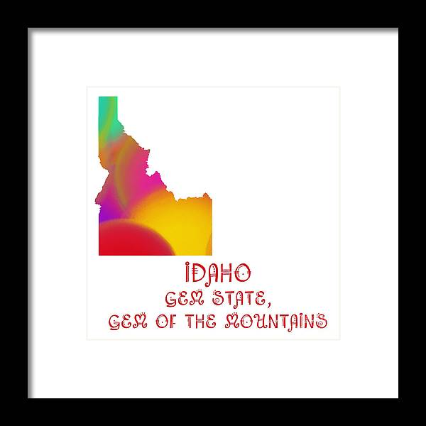 Andee Design Framed Print featuring the digital art Idaho State Map Collection 2 by Andee Design