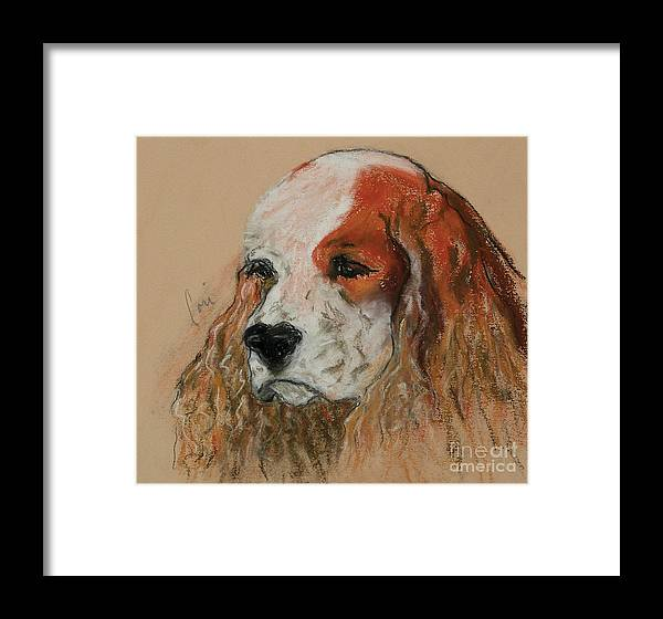 Dog Framed Print featuring the pastel Idle Thoughts by Cori Solomon