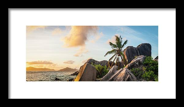 Tropical Rainforest Framed Print featuring the photograph Idyllic Tropical Island Sunset Over by Fotovoyager