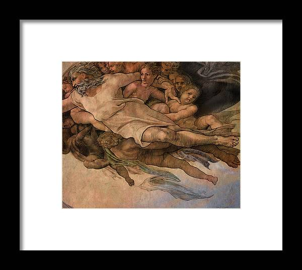 Michaelangelo Framed Print featuring the painting If Davinci Did Michaelangelo_part2 by Dan Terry
