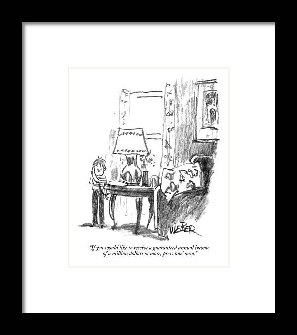 Children Framed Print featuring the drawing If You Would Like To Receive A Guaranteed Annual by Robert Weber