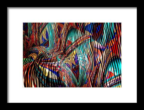 Abstract Framed Print featuring the painting Iguana In The Rough by Robert Maestas