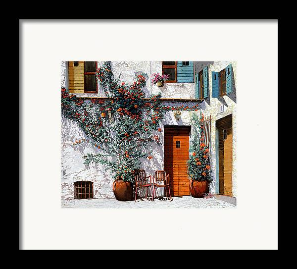 Courtyard Framed Print featuring the painting Il Cortile Bianco by Guido Borelli