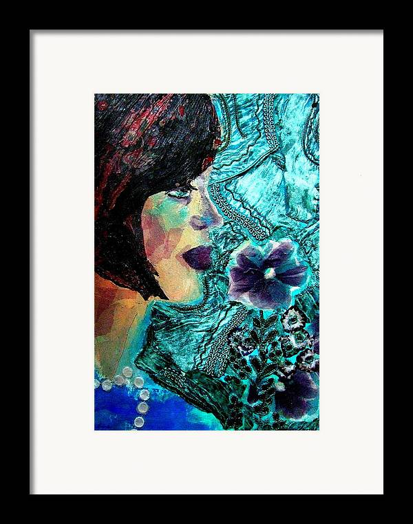 Mixed Media Portrait Framed Print featuring the mixed media Ilana by Diane Fine