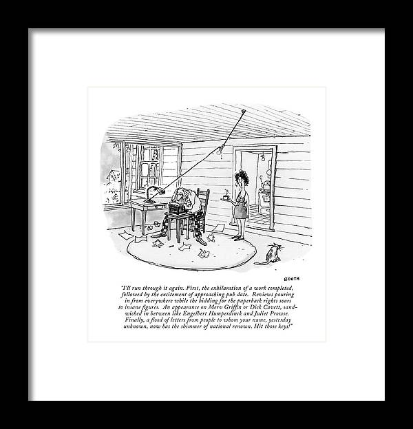 (a Woman Framed Print featuring the drawing I'll Run Through It Again. First by George Booth