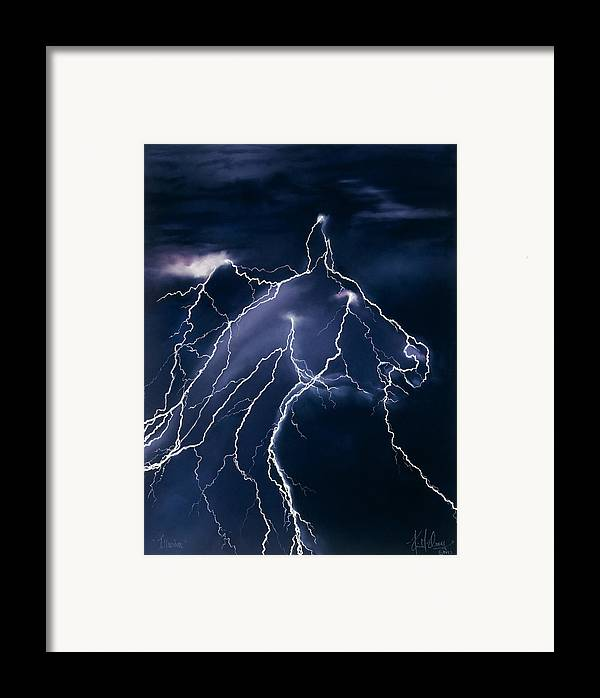 Horse Lightning Framed Print featuring the pastel Illusion by Kim McElroy