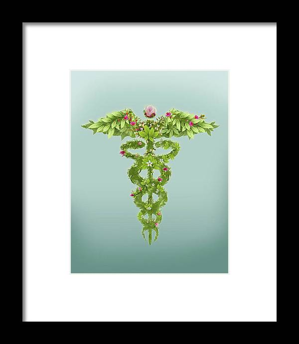 Alternative Medicine Framed Print featuring the photograph Illustration Of Caduceus Symbol by Fanatic Studio / Science Photo Library