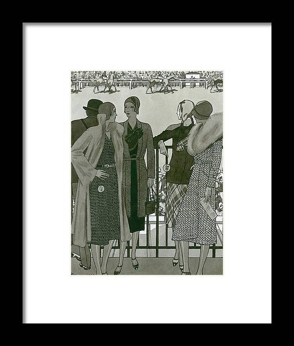 Accessories Framed Print featuring the digital art Illustration Of Four Women At The Grand National by Pierre Mourgue