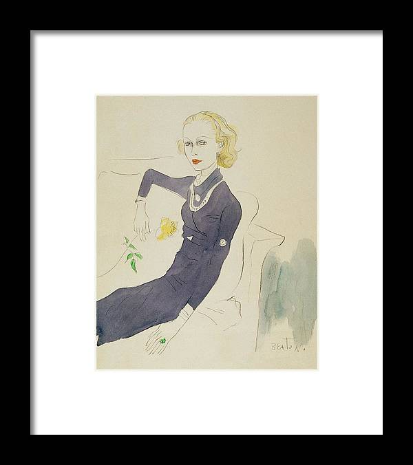 Illustration Framed Print featuring the digital art Illustration Of Lady Abdy Sitting On Sofa by Cecil Beaton