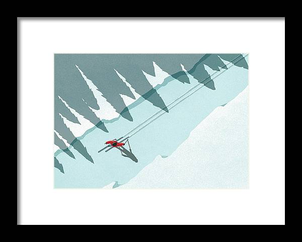 Ski Pole Framed Print featuring the digital art Illustration Of Man Skiing During by Malte Mueller