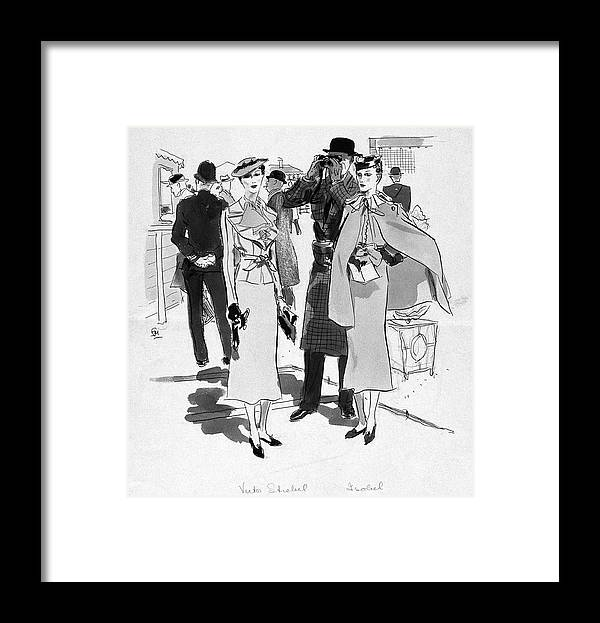 Fashion Framed Print featuring the digital art Illustration Of Men And Woman At The Races by Francis Marshall