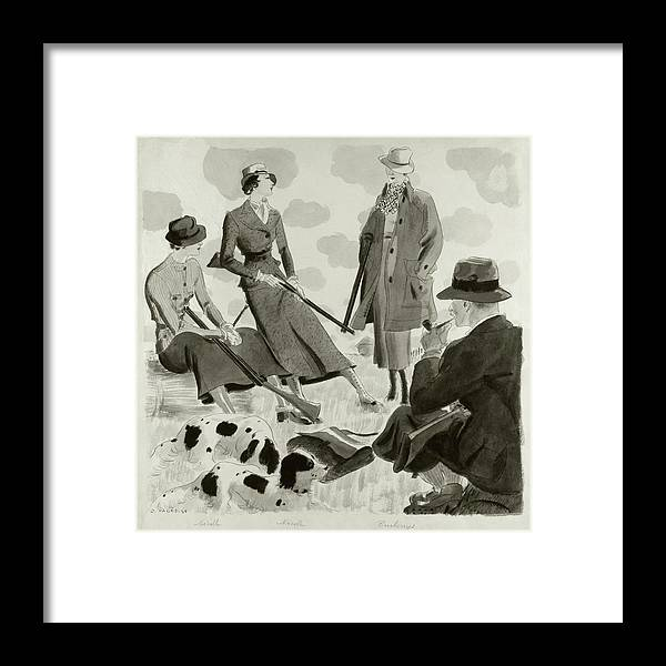 Illustration Of Men And Women Wearing Hunting Framed Print by Jean Pages
