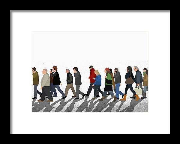 Shadow Framed Print featuring the digital art Illustration Of People Walking On by Malte Mueller