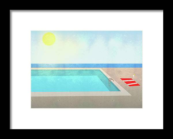 Swimming Pool Framed Print featuring the digital art Illustration Of Swimming Pool On Sunny by Malte Mueller