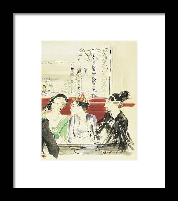 Fashion Framed Print featuring the digital art Illustration Of Three Women Wearing Designer Hats by Rene Bouet-Willaumez