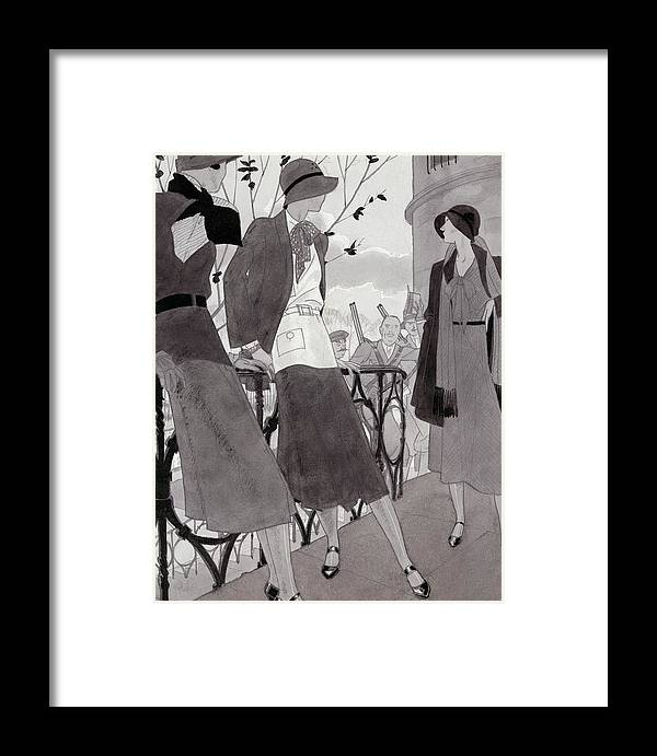 Fashion Framed Print featuring the digital art Illustration Of Three Women Wearing Stylish Suits by Jean Pages