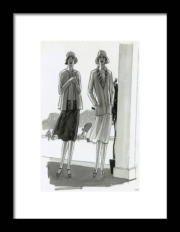 Fashion Framed Print featuring the digital art Illustration Of Two Women Standing In A Shadow by Porter Woodruff