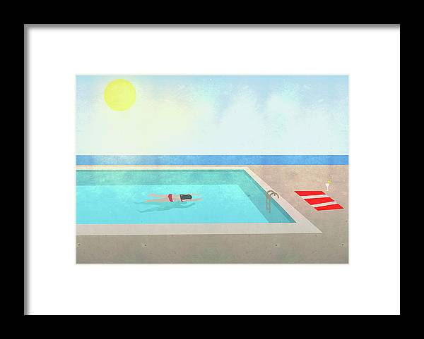 Recreational Pursuit Framed Print featuring the digital art Illustration Of Woman Swimming In Pool by Malte Mueller