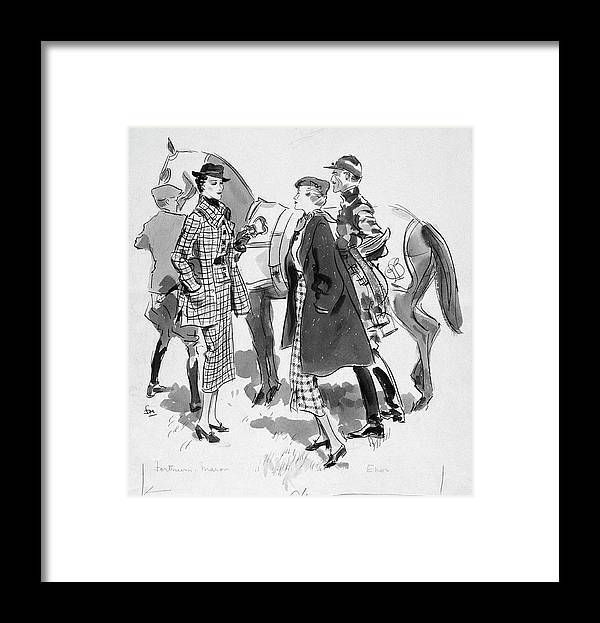 Animal Framed Print featuring the digital art Illustration Of Women Standing In Front Of Racing by Francis Marshall