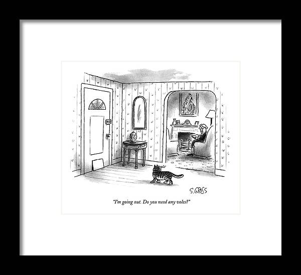 Animals Framed Print featuring the drawing I'm Going Out. Do You Need Any Voles? by Sam Gross