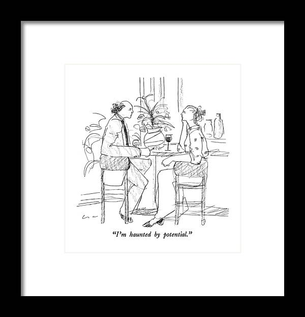 Dining Framed Print featuring the drawing I'm Haunted By Potential by Richard Cline