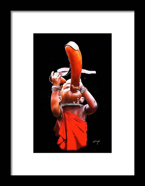 African Paintings Framed Print featuring the painting I'm Thirsty by Chagwi