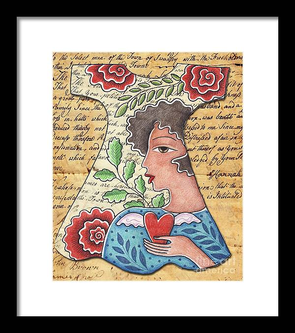 Red Flowers Framed Print featuring the digital art I'm wearing my heart by Elaine Jackson
