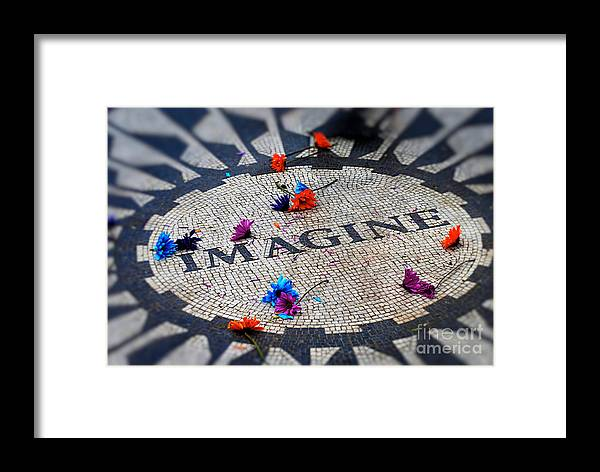 John Lennon Memorial Framed Print featuring the photograph Imagine by Tracey Pearson Boyajian
